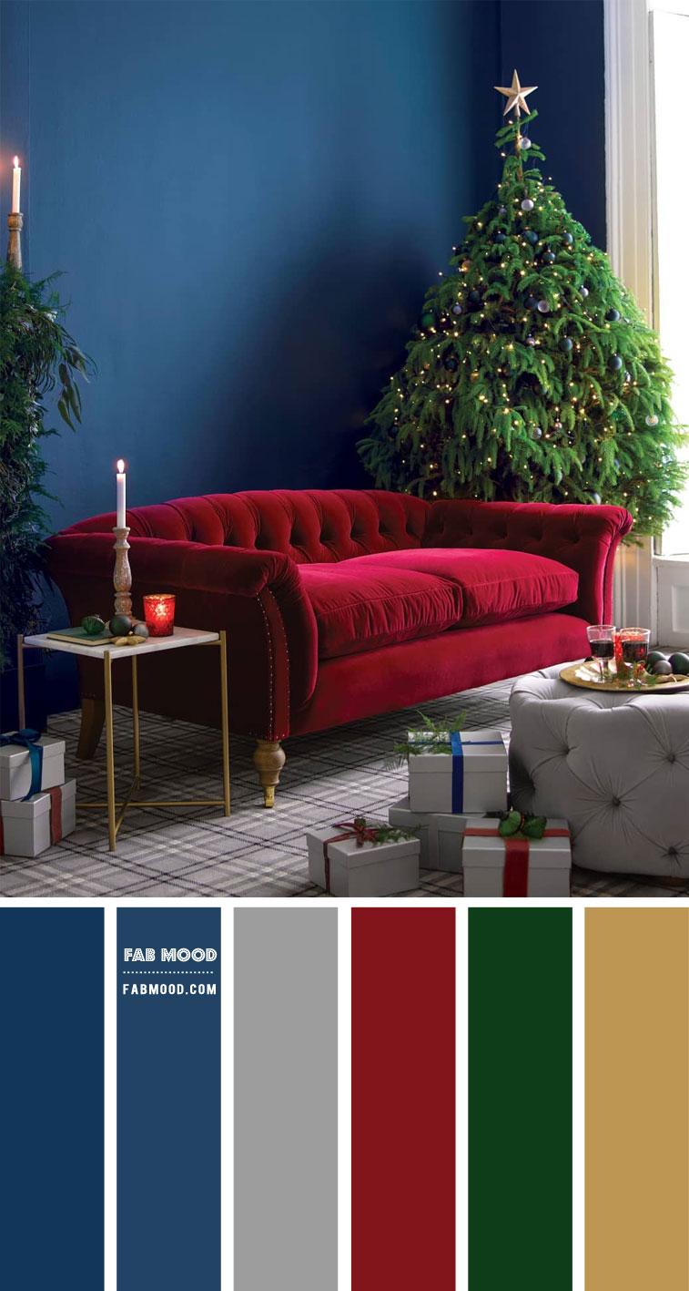 Navy Blue Living Room Christmas Decor Idea