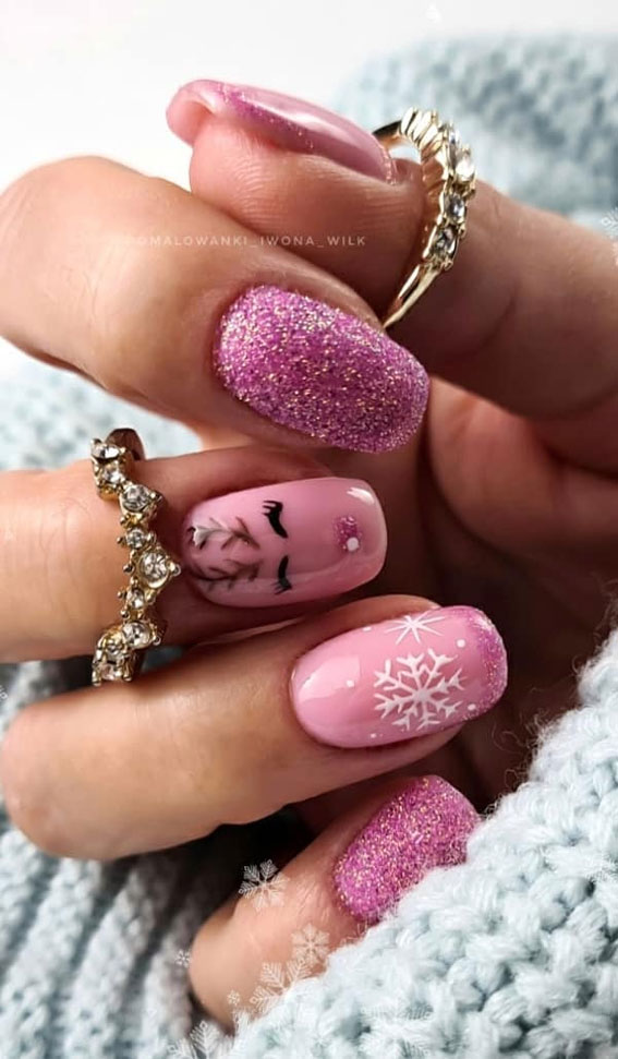 Pretty Festive Nail Colours & Designs 2020 : Pink & Glitter Festive nails