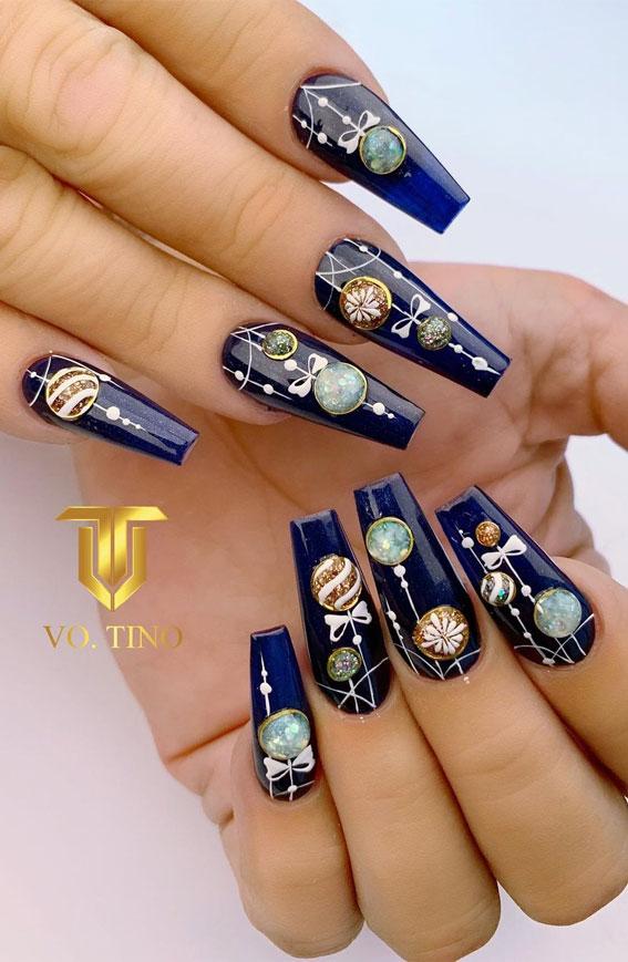 Pretty Festive Nail Colours & Designs 2020 : Navy blue Christmassy nails