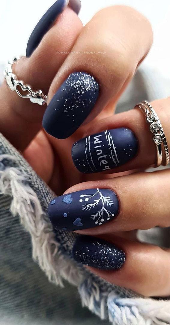 Pretty Festive Nail Colours & Designs 2020 : Navy blue festive nails