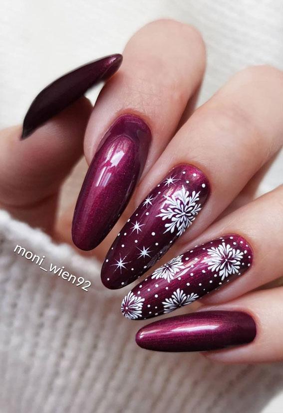 Pretty Festive Nail Colours & Designs 2020 : Burgundy Festive Nails