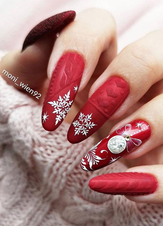 Pretty Festive Nail Colours & Designs 2020 : Red festive nails