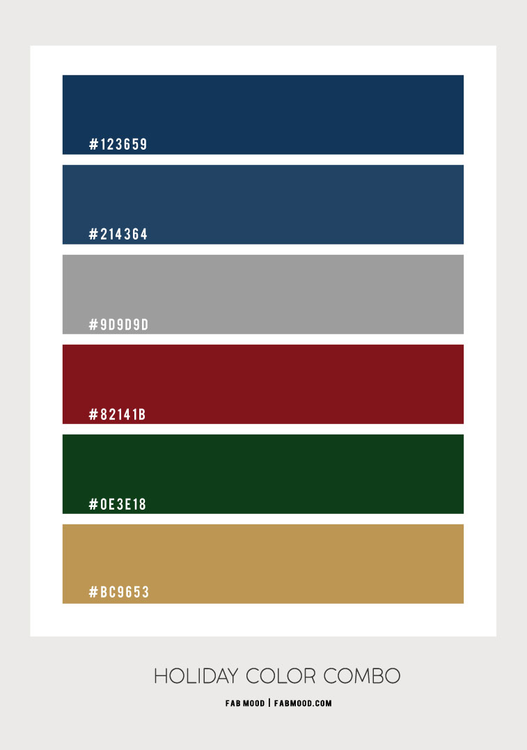 navy blue and grey, red and green, holiday color combo, holiday color scheme, holiday color palette