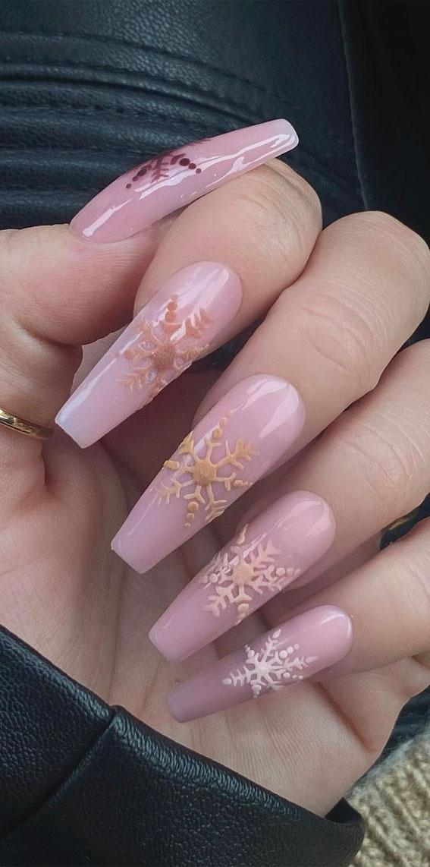 Pretty festive nail colours & designs 2020 : Gradient snowflakes