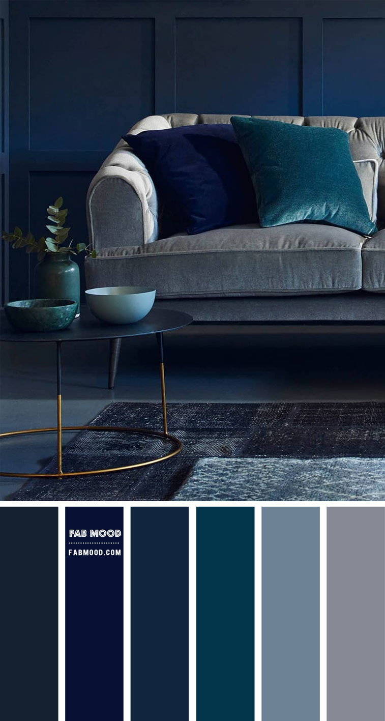 dark blue and grey color combination, dark blue and grey living room, dark blue and grey color combo for living room, navy blue and grey living room color ideas #livingroomcolor #navyblue #livingroom #colorcombo