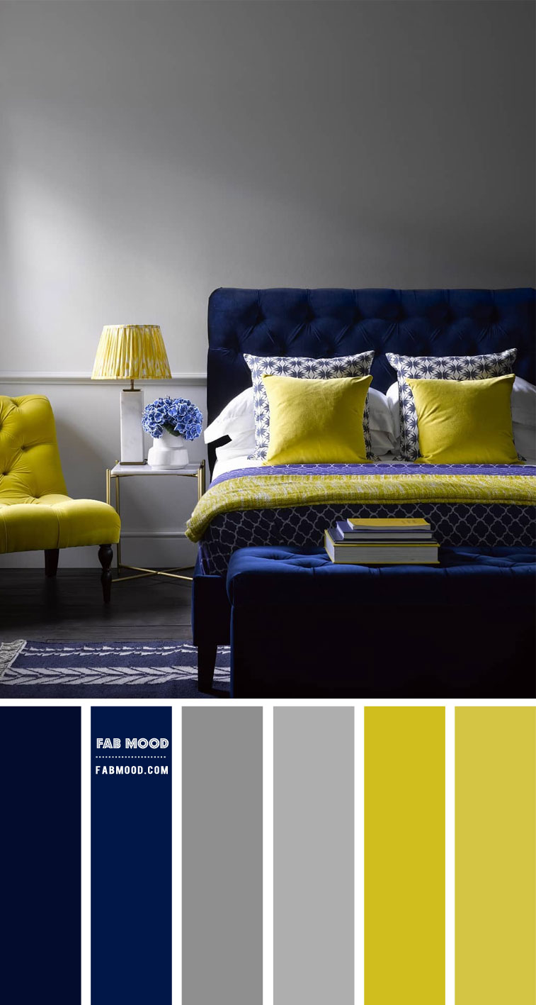 navy blue and yellow bedroom, grey bedroom with navy blue and lemon color combination, navy blue and yellow lemon color scheme, navy blue and yellow color combo