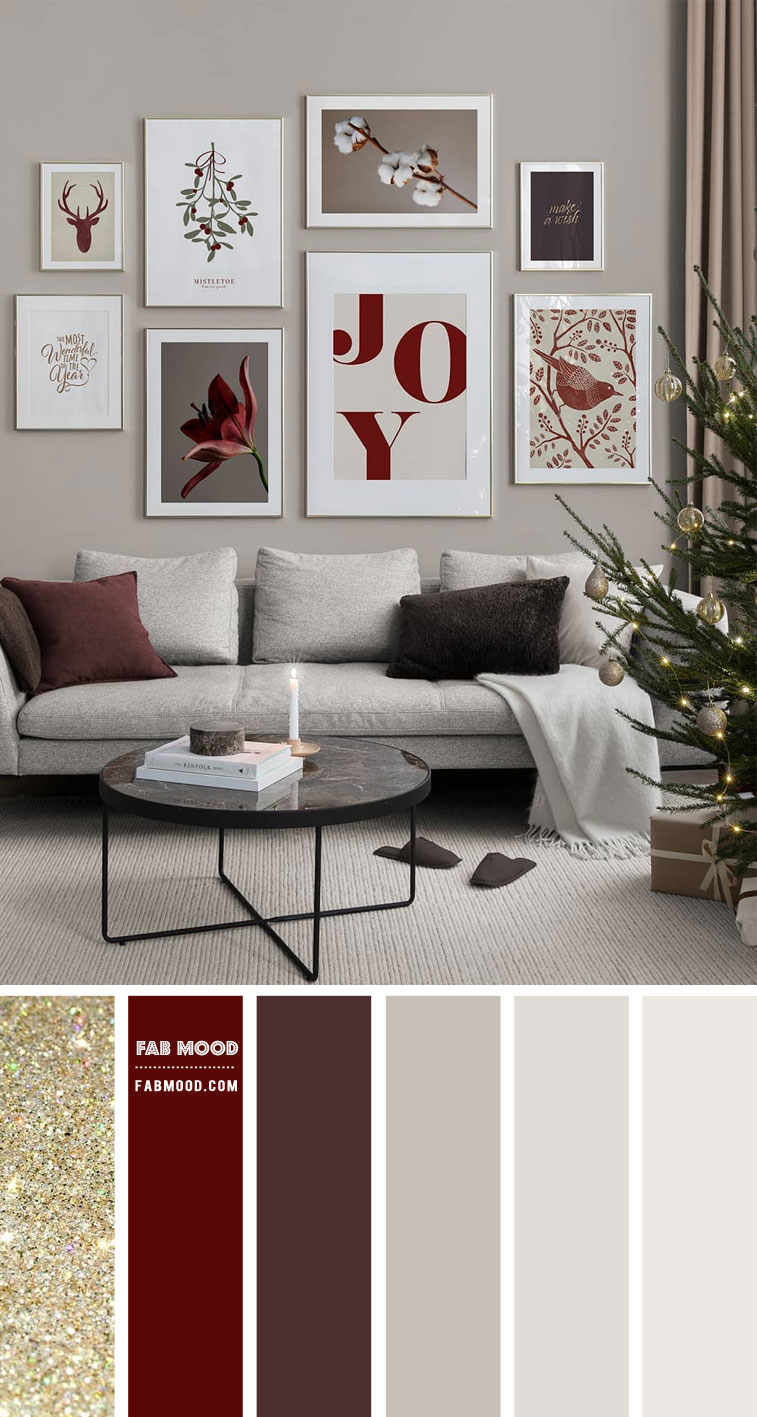 red and glitter living room decor, neutral living room, festive living room color scheme, christmas home color combo, red festive color combo, berry and grey color combo, color hex, festive color combination #color #festivecolor #colorcombo