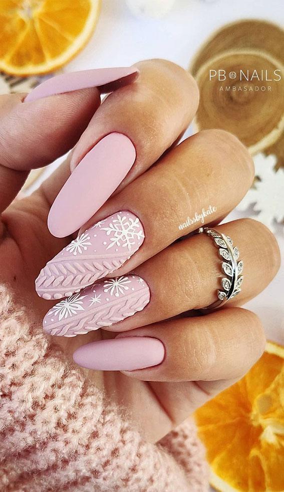 Pretty Festive Nail Colours & Designs 2020 : Pink Christmas Nails