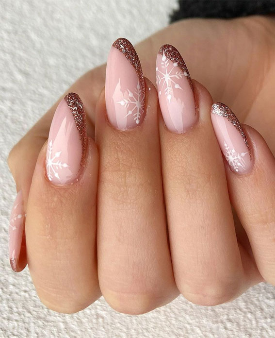 Pretty Festive Nail Colours & Designs 2020 : Snowflake on pink nails & Glitter tips