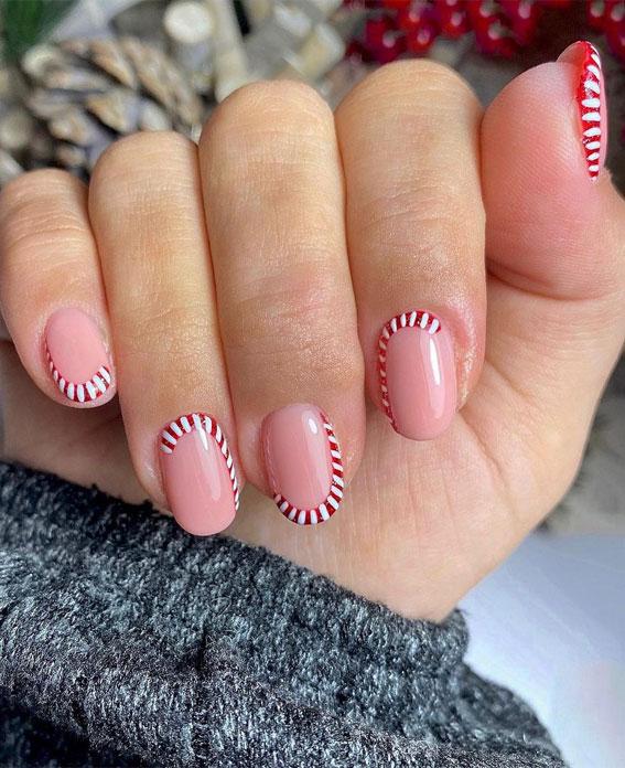 Pretty Festive Nail Colours & Designs 2020 : Candy Cane Nails