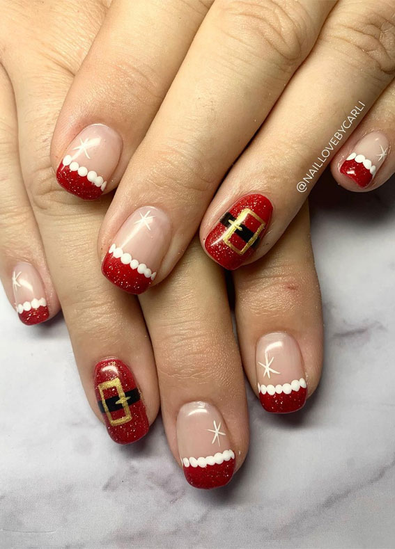 Pretty Festive Nail Colours & Designs 2020 : Cute Santa nails