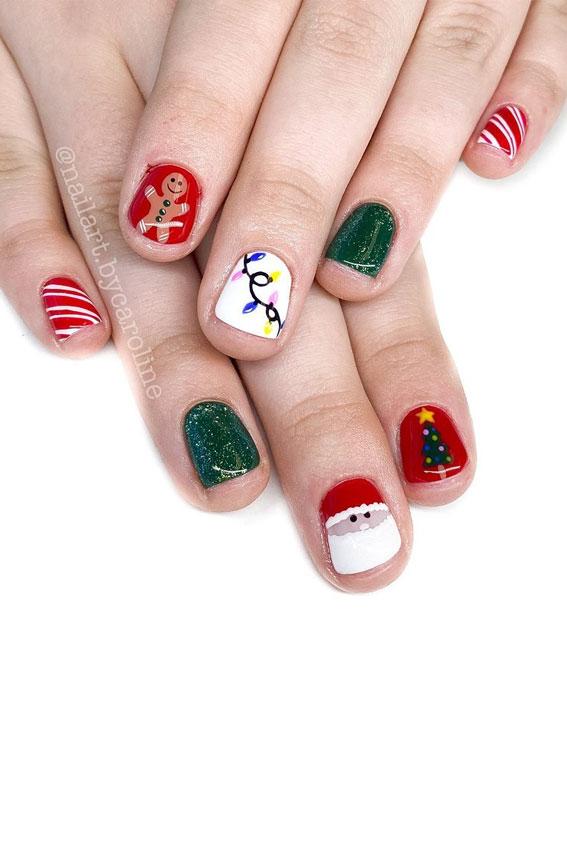 Pretty Festive Nail Colours & Designs 2020 : Cute Mismatched Festive nails