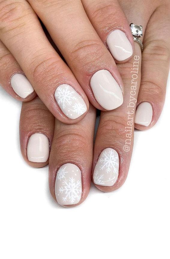 Pretty Festive Nail Colours & Designs 2020 : White Christmas nails