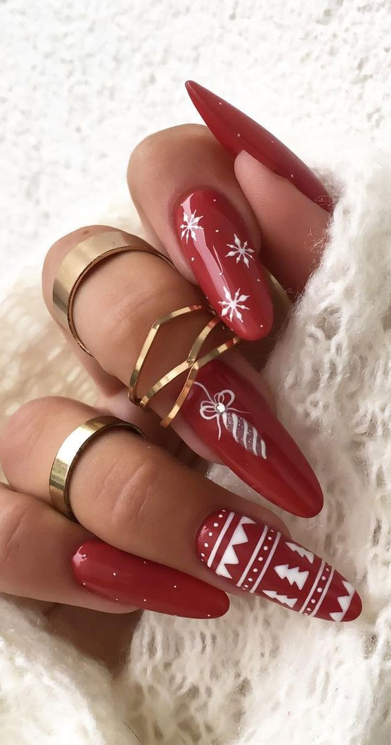 Pretty Festive Nail Colours & Designs 2020 : Christmasy Red Nails