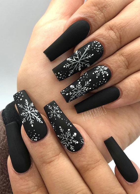 Pretty Festive Nail Colours & Designs 2020 : Black Festive nails
