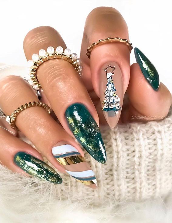 Pretty Festive Nail Colours & Designs 2020 : Green Christmas nails
