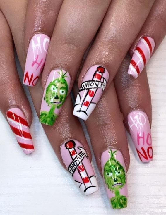 Pretty Festive Nail Colours & Designs 2020 : Mr. Grinch Christmas nails