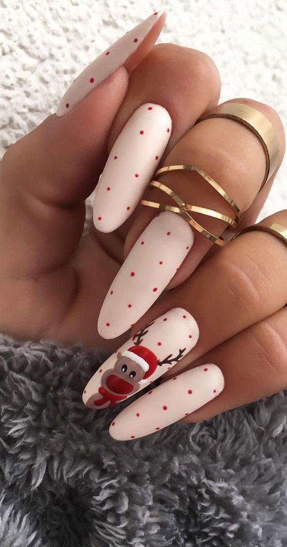 Pretty Festive Nail Colours & Designs 2020 : Reindeer Christmas Nails