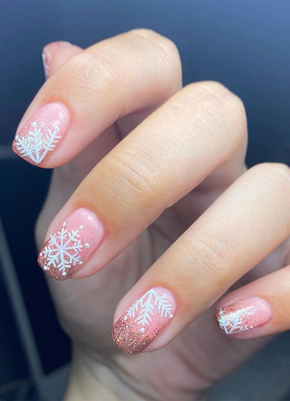 Pretty Festive Nail Colours & Designs 2020 : Snowflake on nude pink Christmas nails