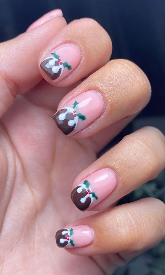 Pretty Festive Nail Colours & Designs 2020 : Christmas pudding on nude pink nails