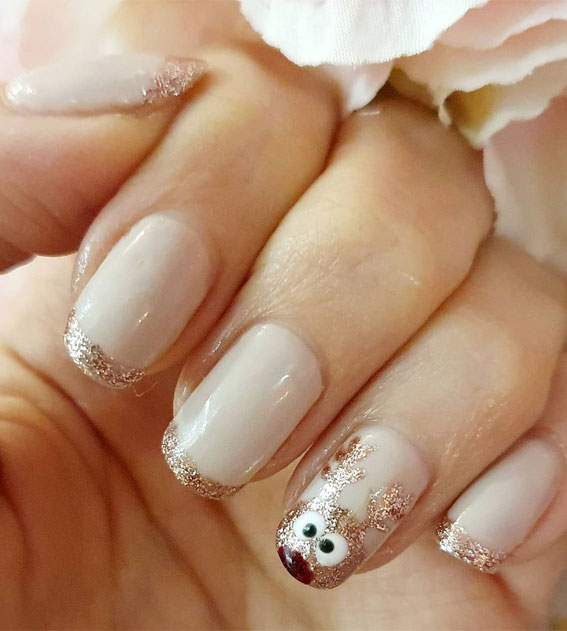 Pretty Festive Nail Colours & Designs 2020 : Rose gold Reindeer and french tips