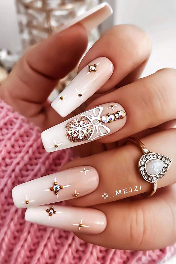 Pretty Festive Nail Colours & Designs 2020 : Nude pink ombre Christmas nails