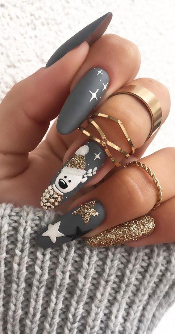 Pretty Festive Nail Colours & Designs 2020 : Matte Grey Christmas Nails