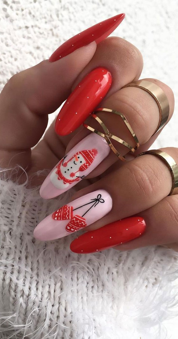 Pretty Festive Nail Colours & Designs 2020 : Pink and Red Christmas Nails