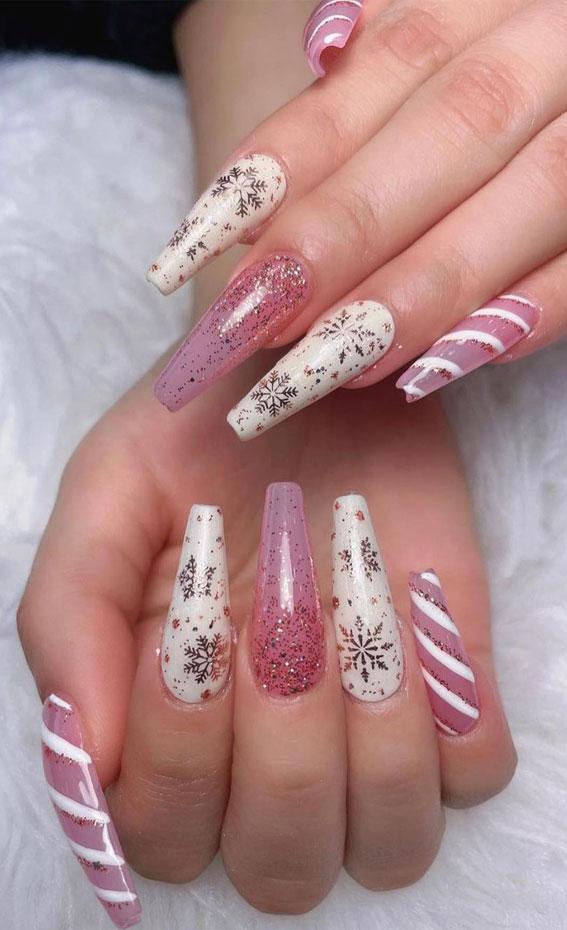 Pretty Festive Nail Colours & Designs 2020 : Pink & White Festive Nails