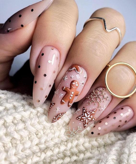 Pretty Festive Nail Colours & Designs 2020 : Gingerbread Man Festive Nails