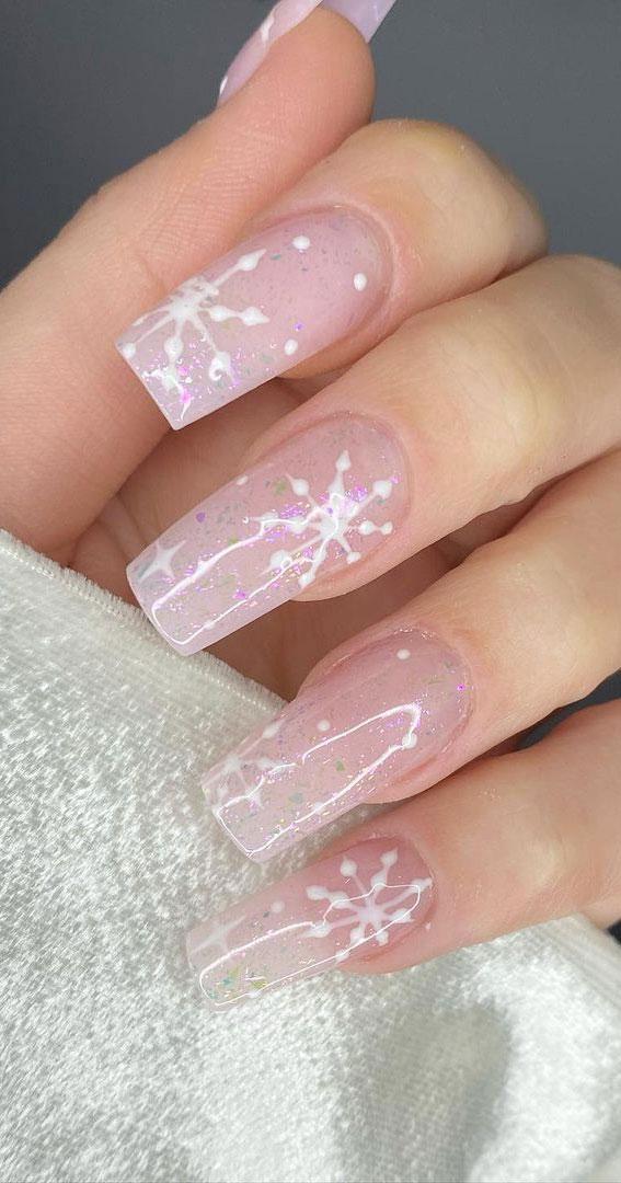 Pretty Festive Nail Colours & Designs 2020 : Subtle Glitter Pink Nails