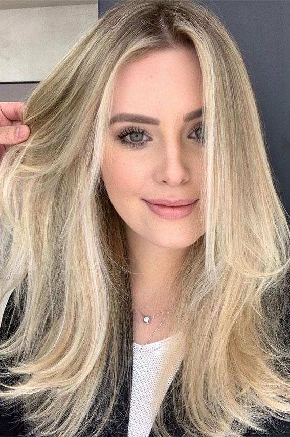 Gorgeous Hair Colour Trends For 2021 : Vanilla Blonde Medium Length
