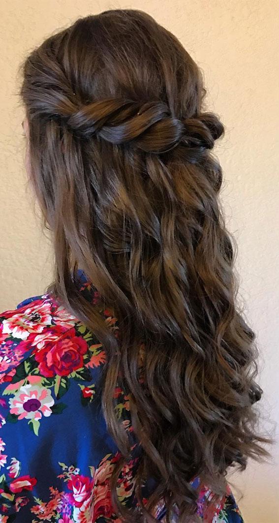 Trendy Half Up Half Down Hairstyles : Crown Braided & Pull Trough Half Up