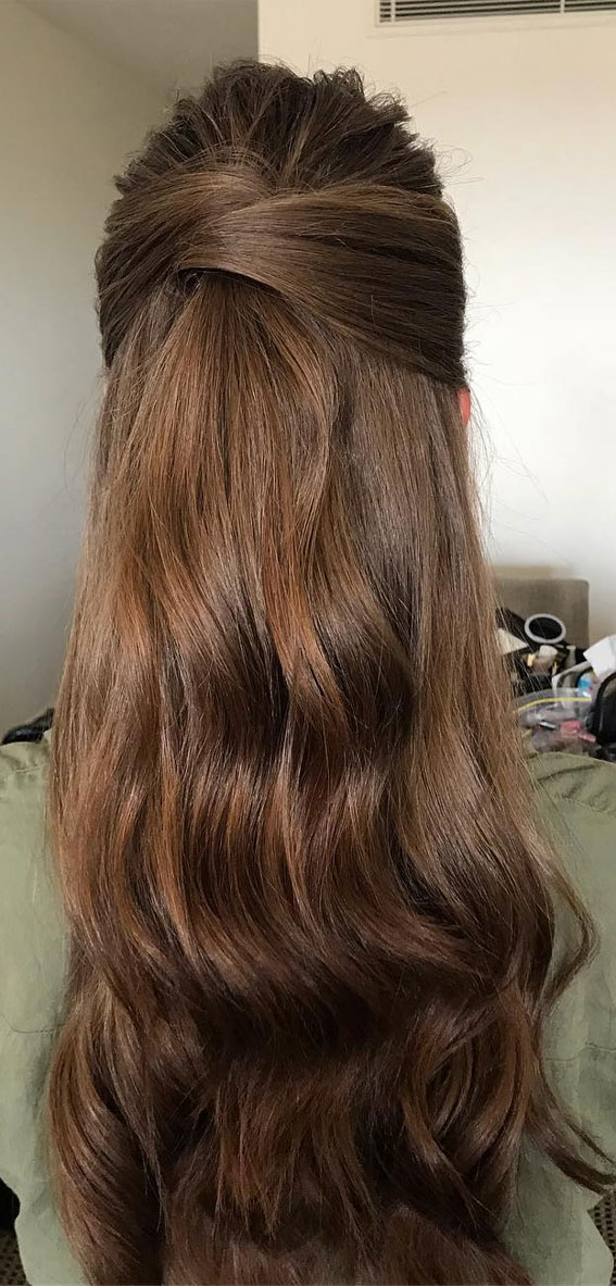 Trendy Half Up Half Down Hairstyles : Twisted Half Up For Wavy Hair