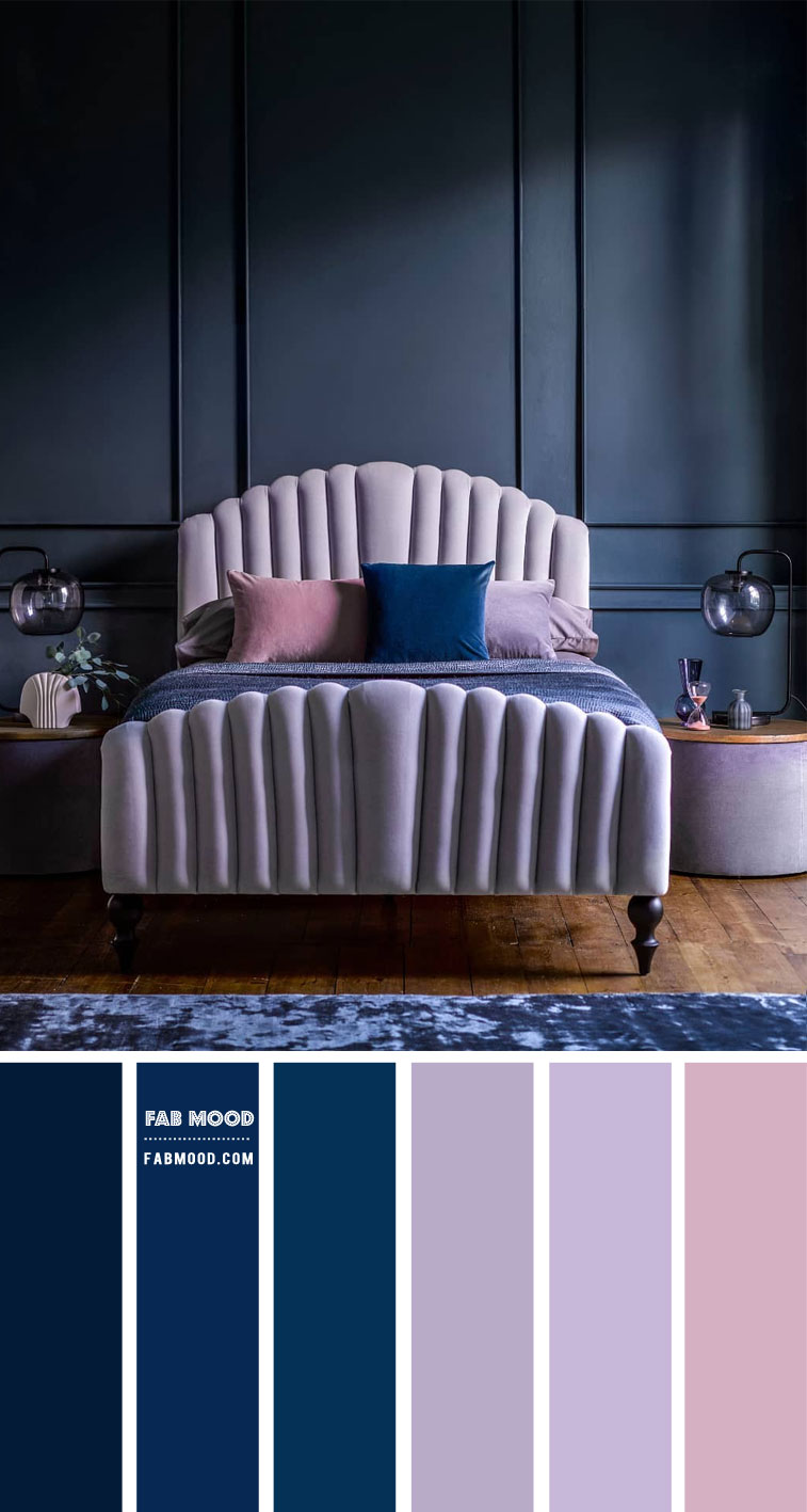lavender and navy blue bedroom, lavender and navy blue bedroom color scheme, lavender and navy blue bedroom color ideas, lavender and navy blue bedroom decorating ideas #colorcombo #colorscheme #bedroomcolor