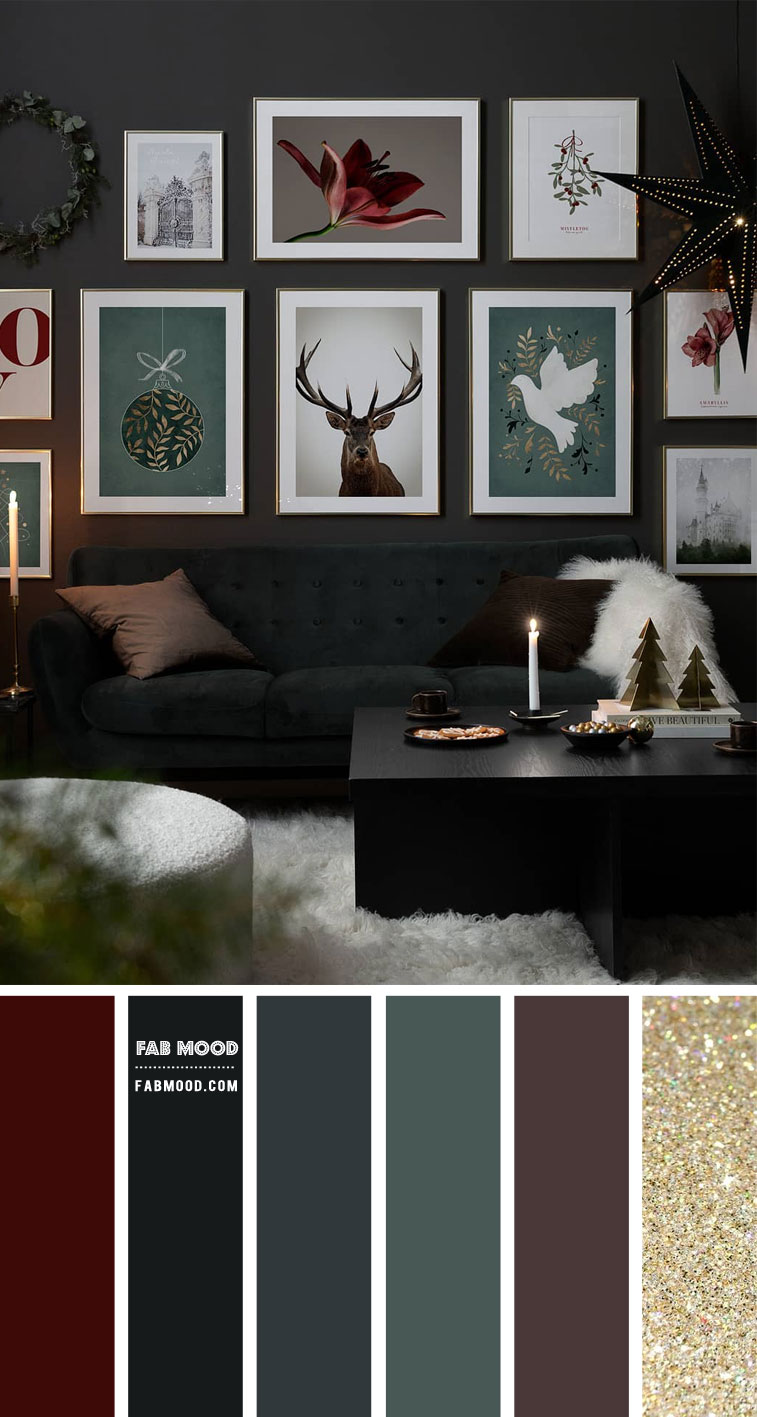 moody living room, moody festive living room, moody colour palette, moody color combo, moody color combination, moody and cozy colour scheme, festive living room, moody festive living room decor #livingroom #moody
