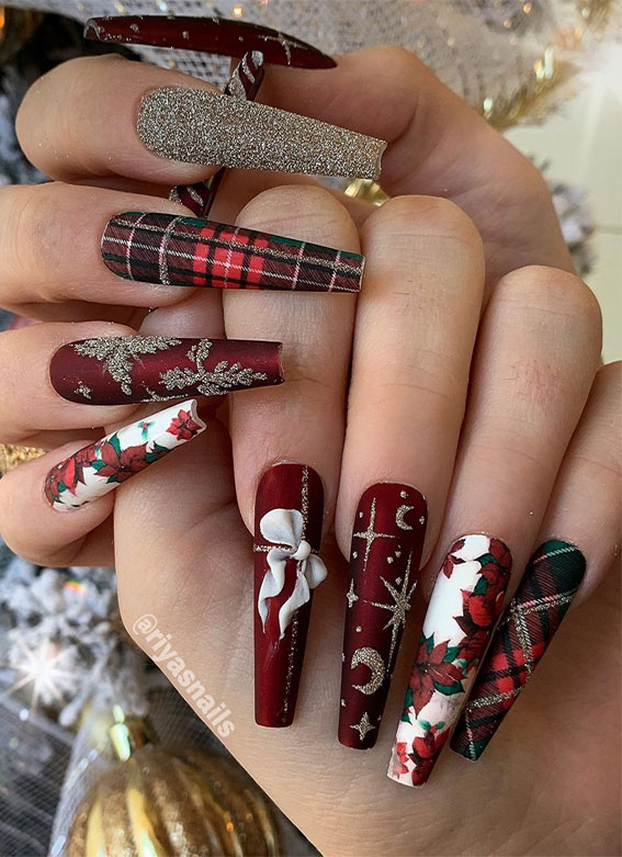 Pretty Festive Nail Colours & Designs 2020 : Red & Glitter Christmas long nails