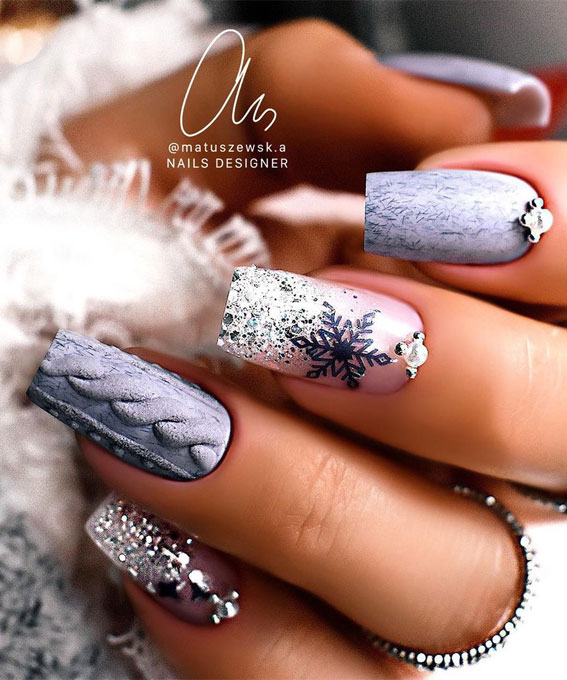 Pretty Festive Nail Colours & Designs 2020 : Blue grey Christmas nails
