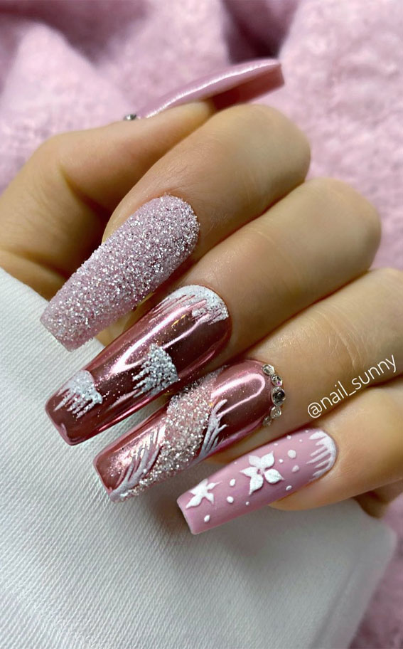 Pretty Festive Nail Colours & Designs 2020 : pink holiday nails