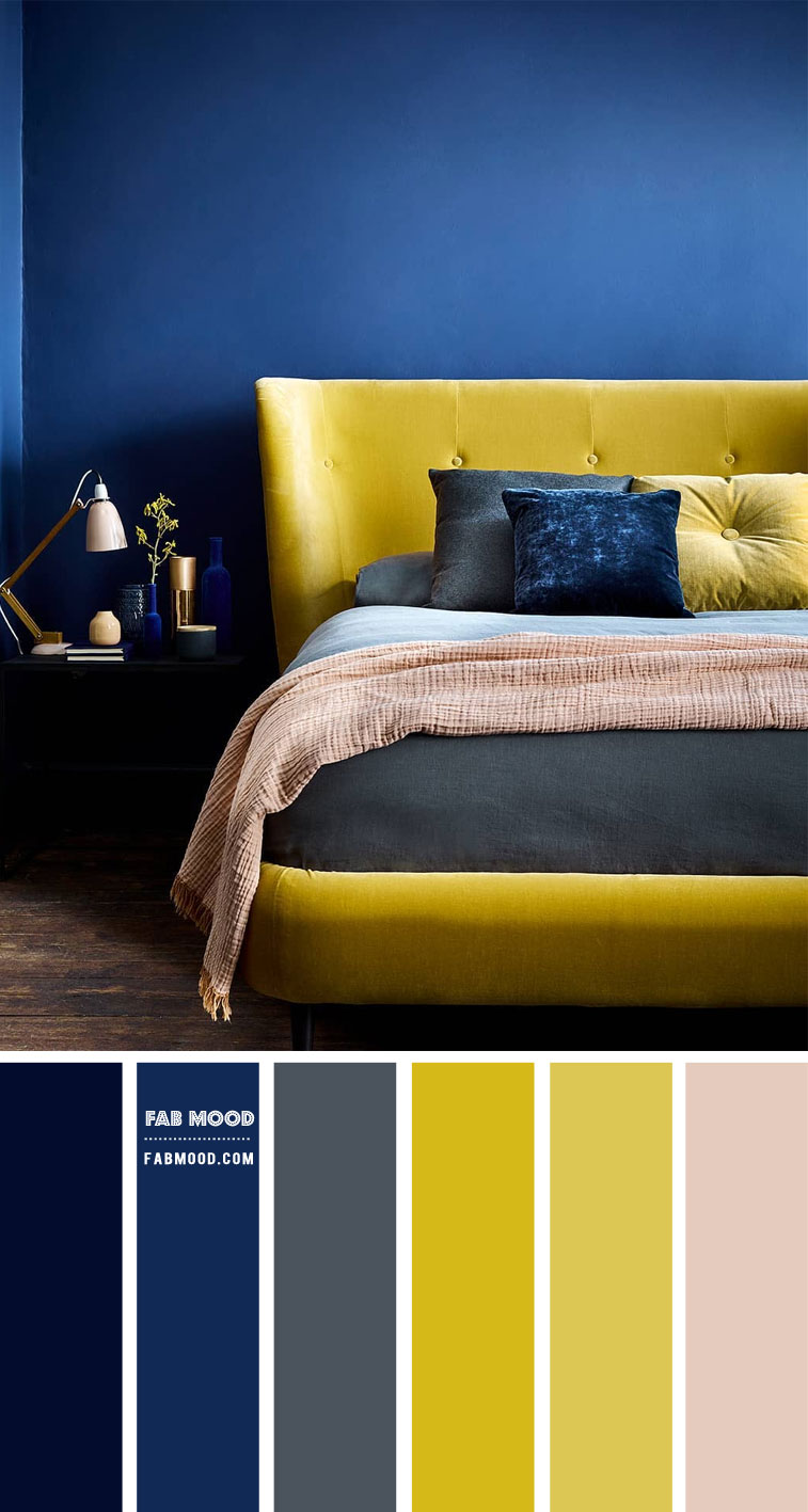 navy blue and yellow bedroom color schemes, navy blue and yellow bedroom color combination, navy blue and yellow color combo, navy blue and yellow bedroom decorating ideas, navy blue and yellow bedroom decor ideas, dark grey and yellow color palette, grey navy blue and yellow color combination