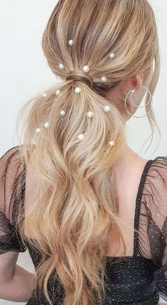 High and Low Ponytails For Any Occasion : Pearls on Ponytail