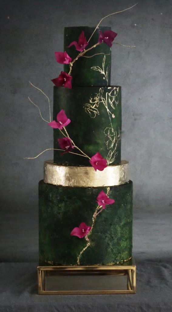 41 Best Wedding Cake Styles For Your Big Day : Glam emerald green cake