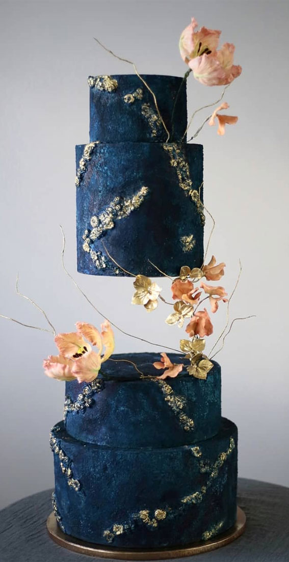 41 Best Wedding Cake Styles For Your Big Day : Navy Blue wedding cake