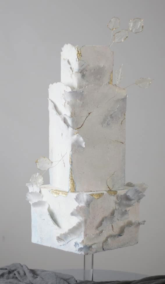 41 Best Wedding Cake Styles For Your Big Day : Textured white wedding cake