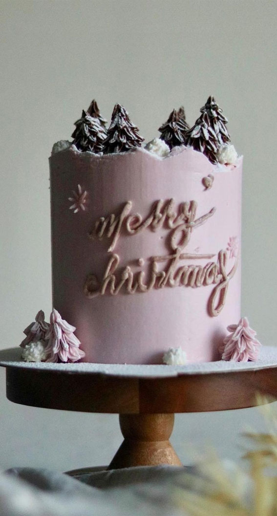 Winter Cake Ideas Must Try This Winter Season : Pink Buttercream Winter Cake