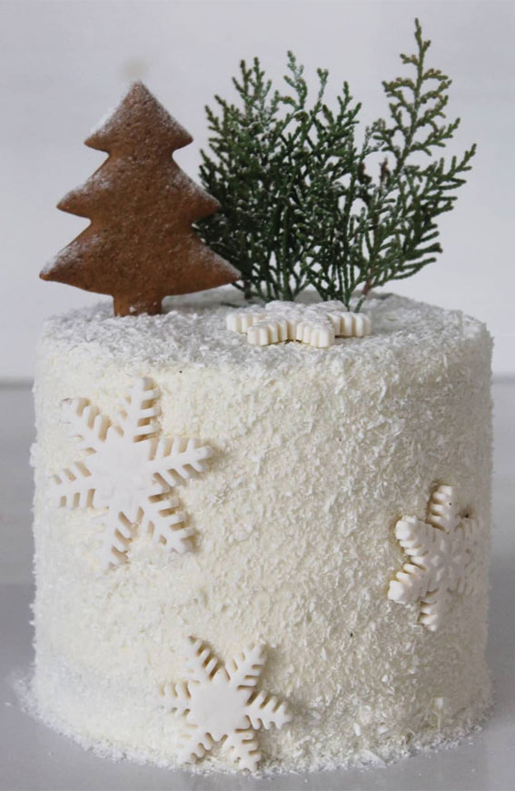 Winter Cake Ideas Must Try This​ Winter​ Season : Snowflake white winter cake