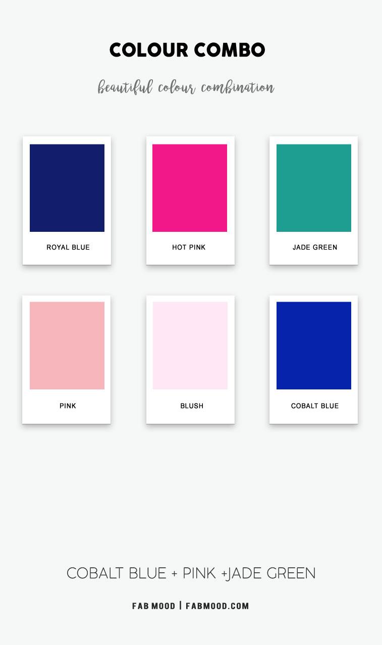 cobalt blue and pink color scheme, cobalt blue and jade green, cobalt blue pink and jade green color palette, what color goes with cobalt blue, colors that go with jade green, cobalt blue and pink color palette, royal blue and pink, jade green color hex, cobalt blue color combo, jade green color combination