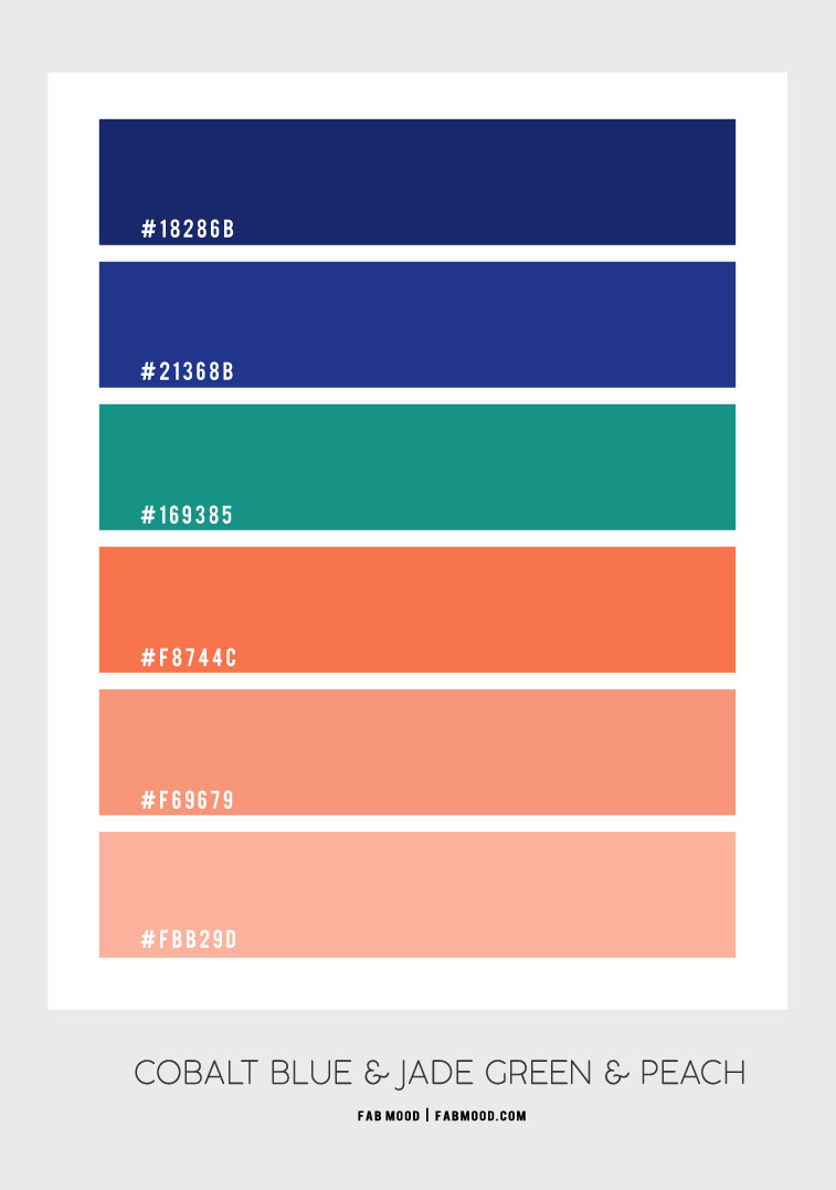 cobalt blue and jade green color scheme, cobalt blue and peach, cobalt blue and jade green, cobalt blue and peach color palette, what color goes with cobalt blue, colors that go with jade green, what color goes with peach, jade green color hex, cobalt blue and peach color combo, jade green and peach color combination