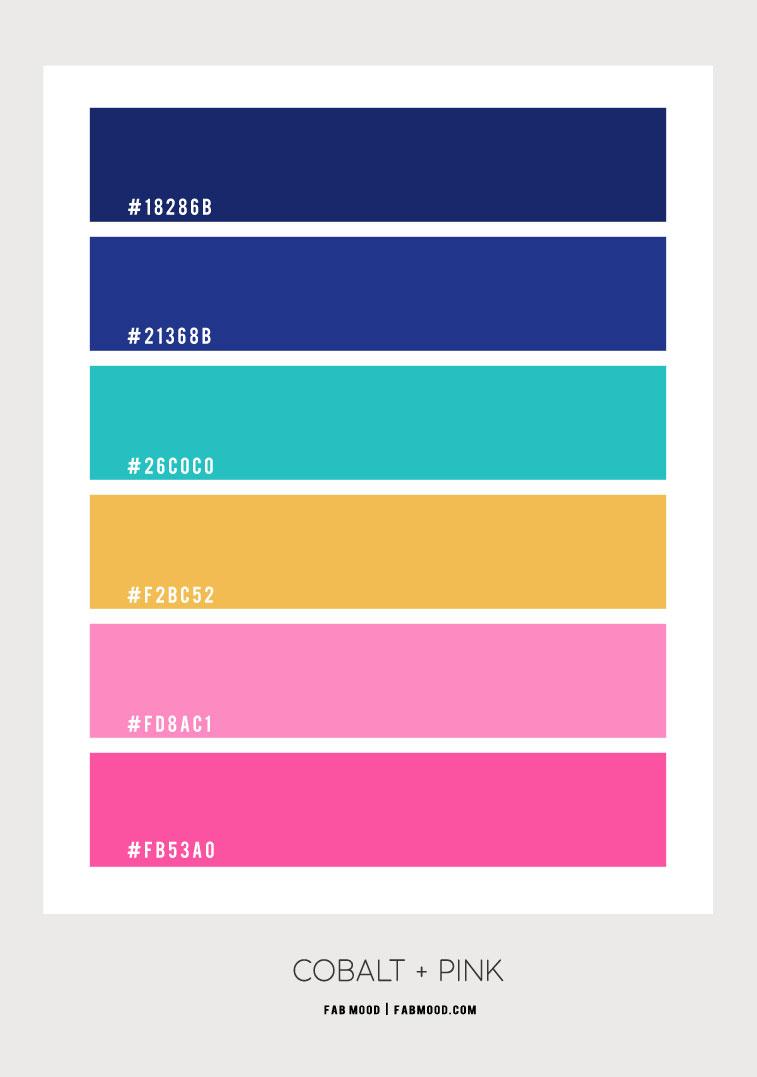 cobalt blue and jade green color scheme, cobalt blue and pink, cobalt blue and turquoise, cobalt blue and hot pink, cobalt blue and jade green, cobalt blue and blush color palette, what color goes with cobalt blue, colors that go with jade green, what color goes with cobalt blue and hot pink , turquoise and hot pink color hex, cobalt blue and hot pink color combo, pink and yellow color combination