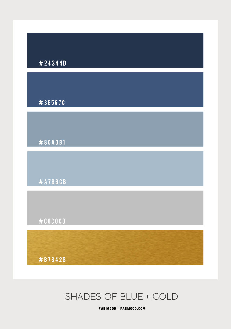shades of blue color scheme, dark blue and gold, what color goes with dark blue, colors that go with blue, what color goes with blue, shades of blue color hex, color combo, dark blue color hex